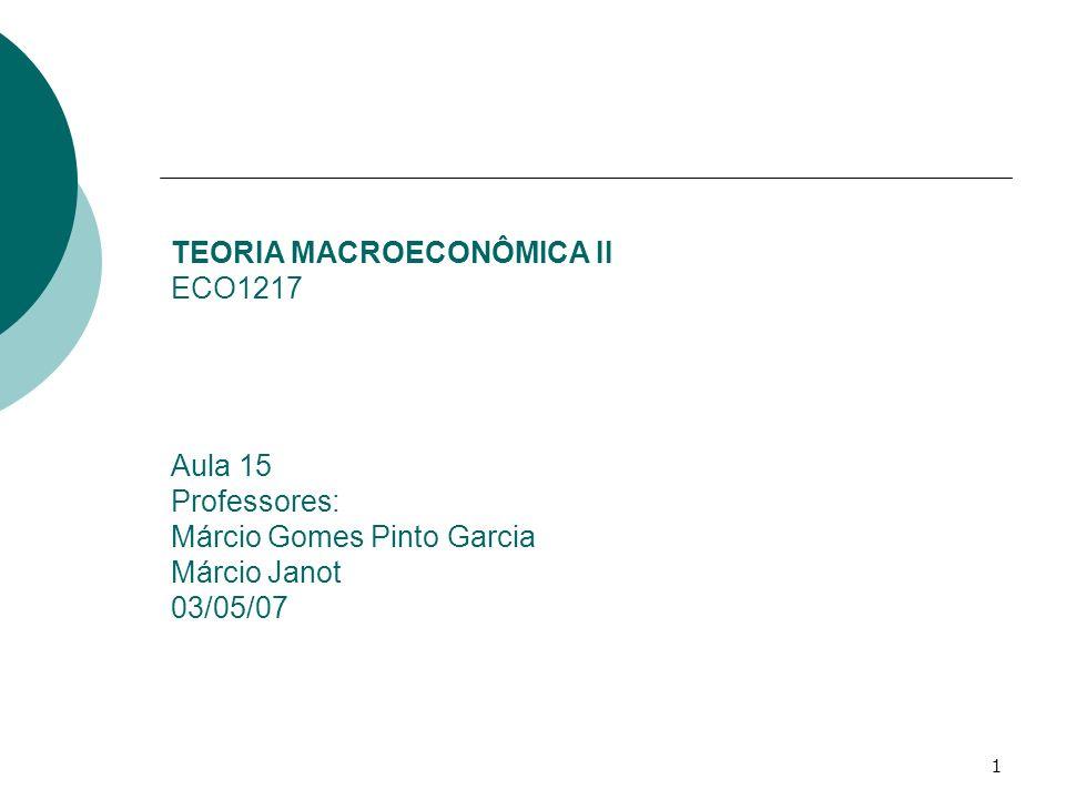 TEORIA MACROECONÔMICA II ECO1217 Aula 15 Professores: Márcio Gomes Pinto Garcia Márcio Janot 03/05/07