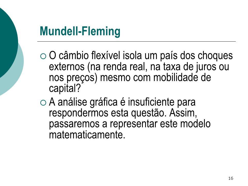 Mundell-Fleming O câmbio flexível isola um país dos choques externos (na renda real, na taxa de juros ou nos preços) mesmo com mobilidade de capital