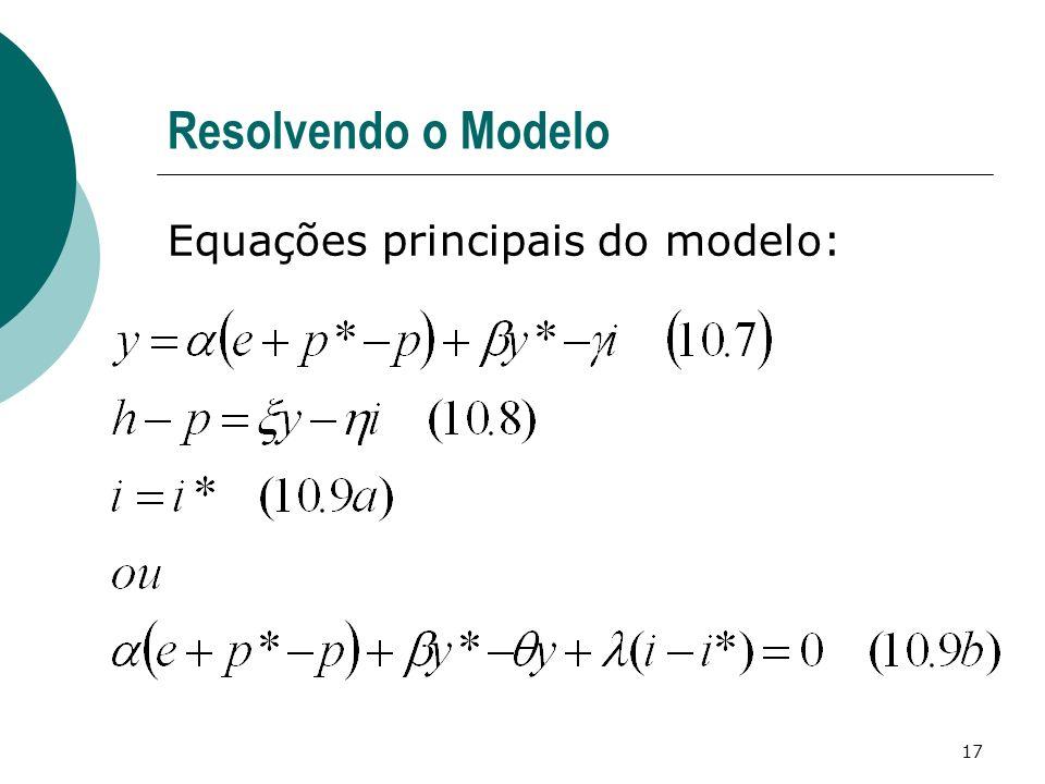 Resolvendo o Modelo Equações principais do modelo: