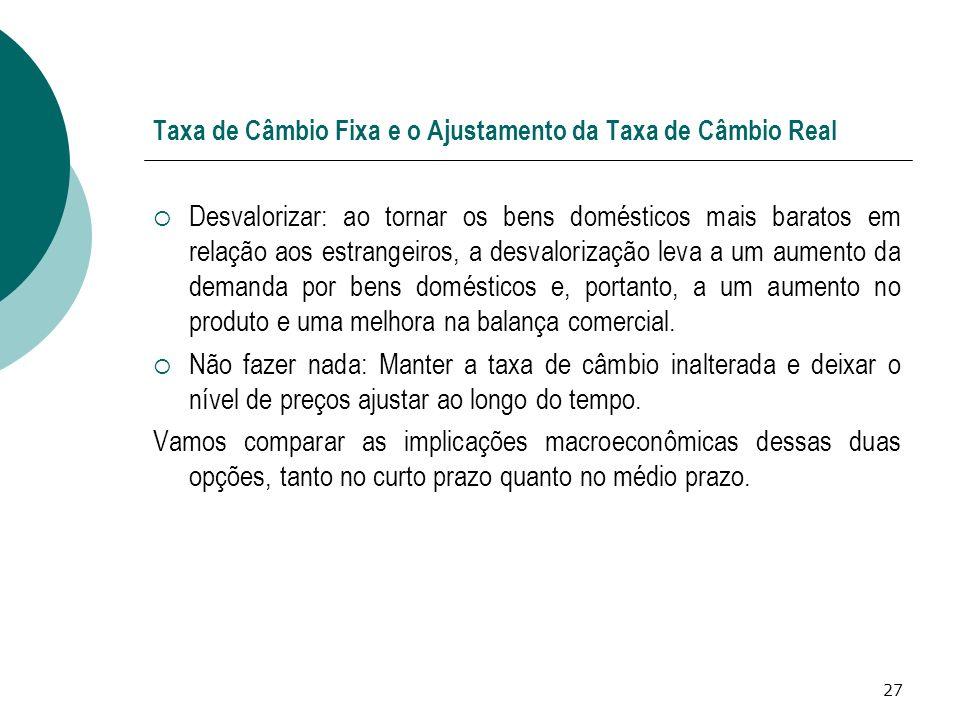 Taxa de Câmbio Fixa e o Ajustamento da Taxa de Câmbio Real