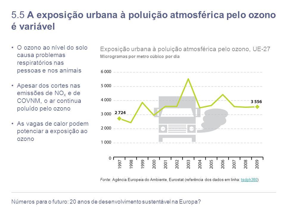 5.5 A exposição urbana à poluição atmosférica pelo ozono é variável