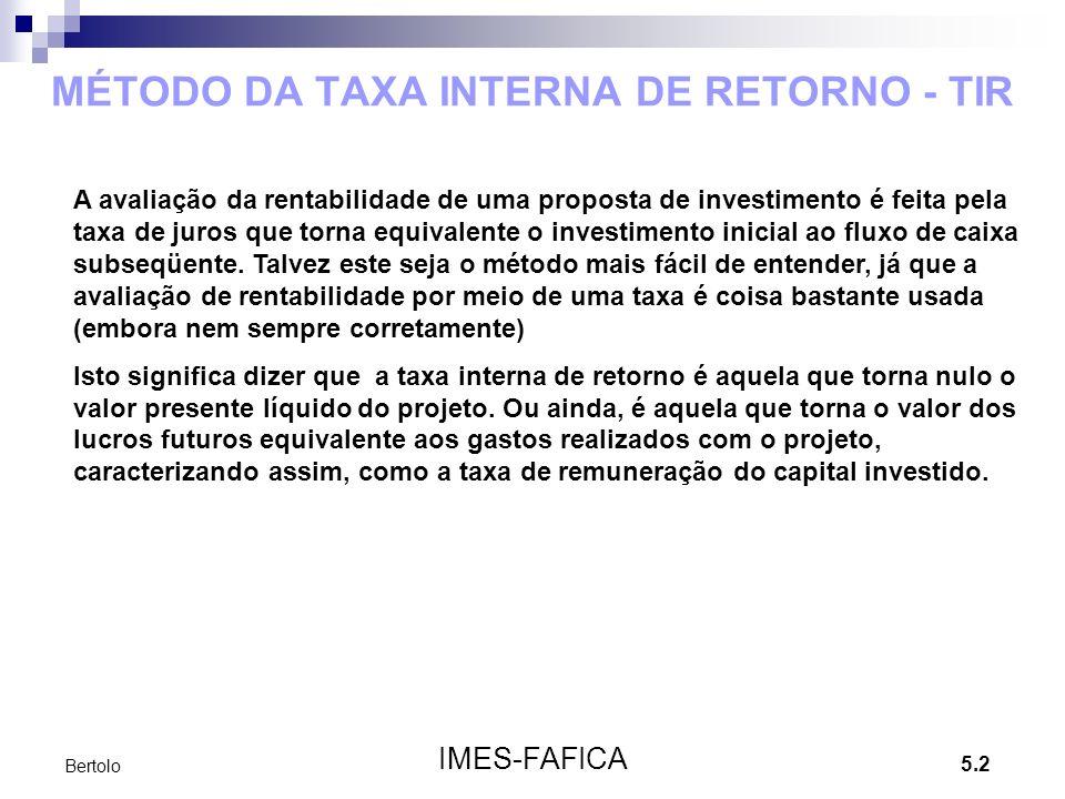 MÉTODO DA TAXA INTERNA DE RETORNO - TIR