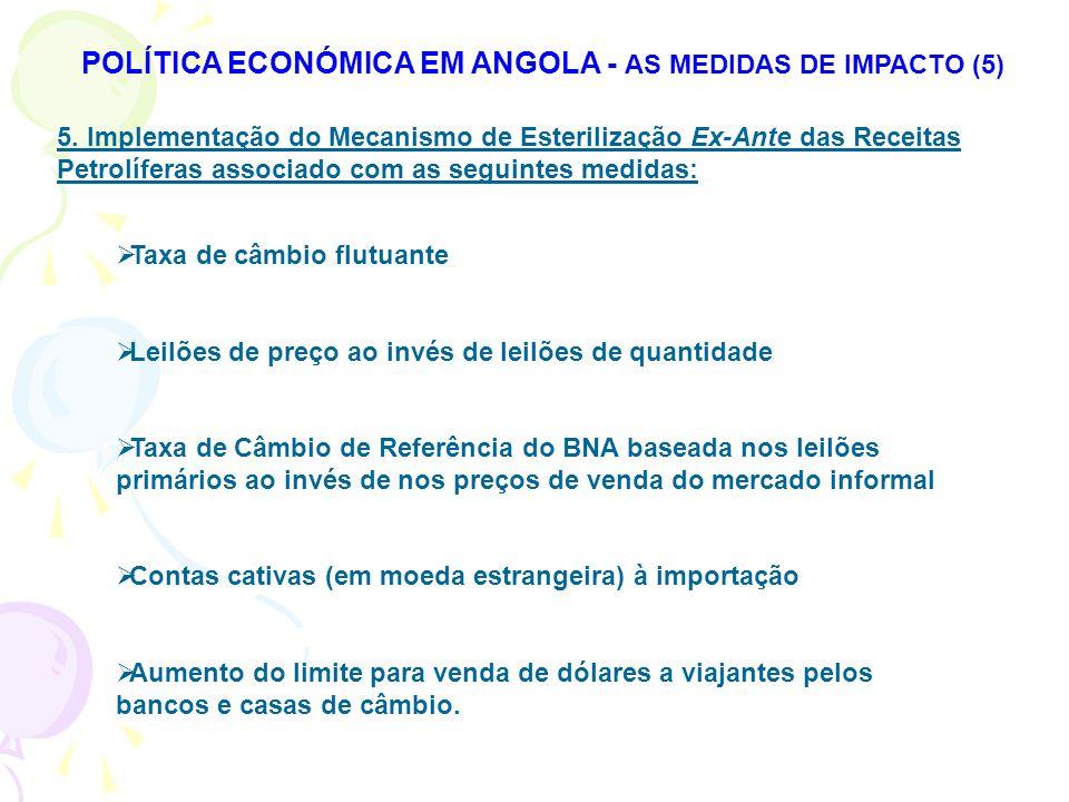 POLÍTICA ECONÓMICA EM ANGOLA - AS MEDIDAS DE IMPACTO (5)