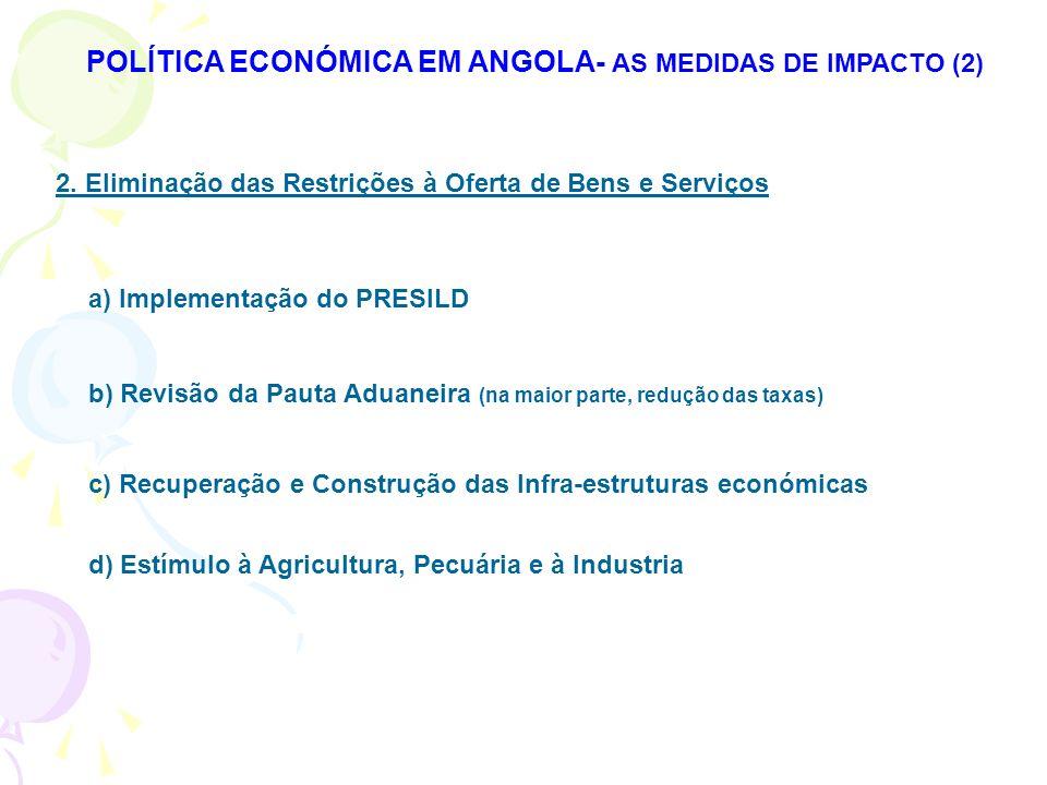 POLÍTICA ECONÓMICA EM ANGOLA- AS MEDIDAS DE IMPACTO (2)