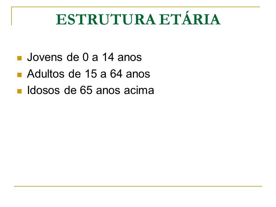 ESTRUTURA ETÁRIA Jovens de 0 a 14 anos Adultos de 15 a 64 anos
