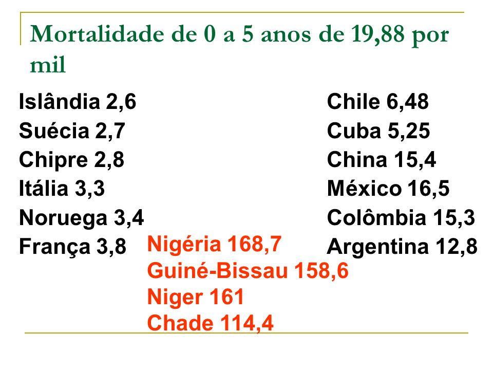 Mortalidade de 0 a 5 anos de 19,88 por mil
