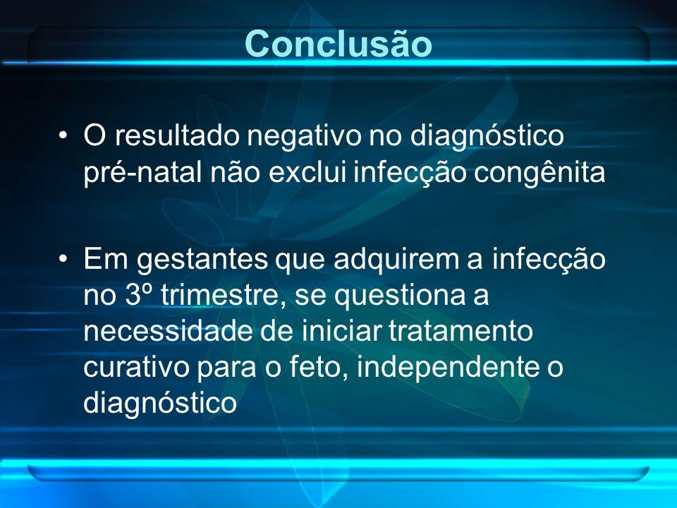 Conclusão O resultado negativo no diagnóstico pré-natal não exclui infecção congênita.