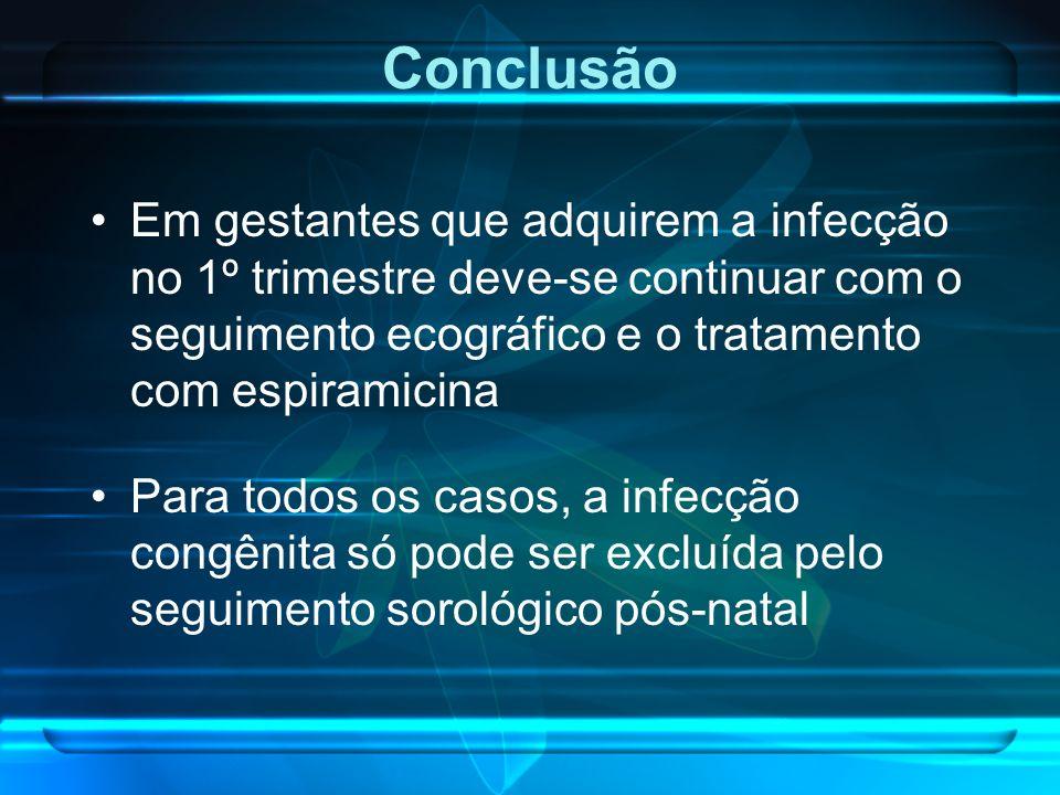 Conclusão Em gestantes que adquirem a infecção no 1º trimestre deve-se continuar com o seguimento ecográfico e o tratamento com espiramicina.