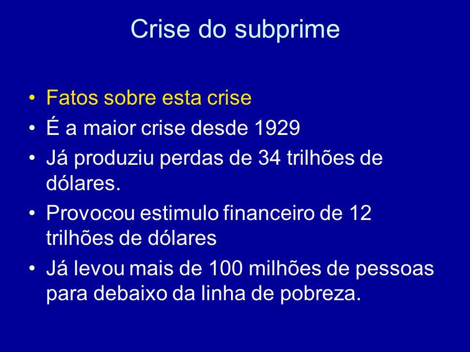Crise do subprime Fatos sobre esta crise É a maior crise desde 1929