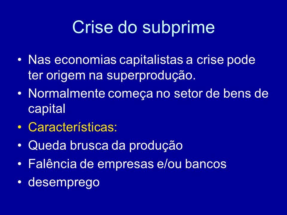 Crise do subprimeNas economias capitalistas a crise pode ter origem na superprodução. Normalmente começa no setor de bens de capital.