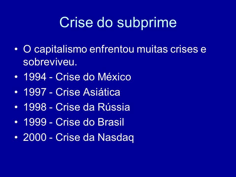 Crise do subprime O capitalismo enfrentou muitas crises e sobreviveu.