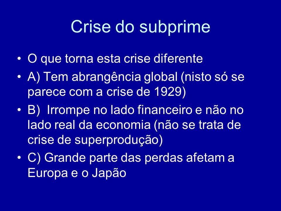 Crise do subprime O que torna esta crise diferente