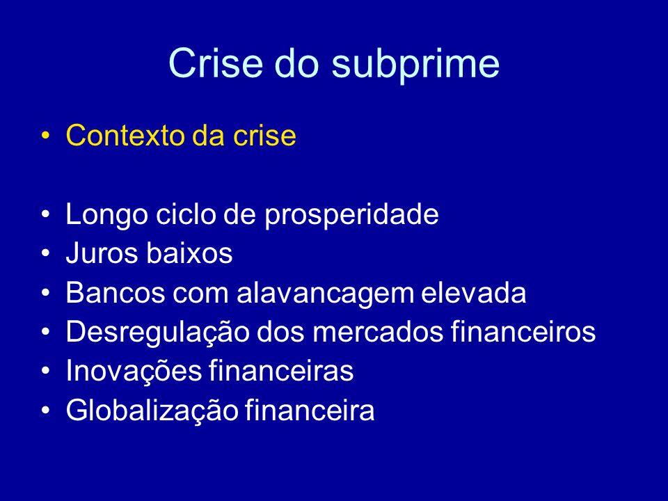 Crise do subprime Contexto da crise Longo ciclo de prosperidade