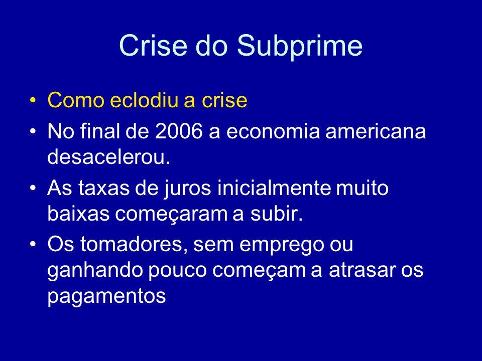Crise do Subprime Como eclodiu a crise
