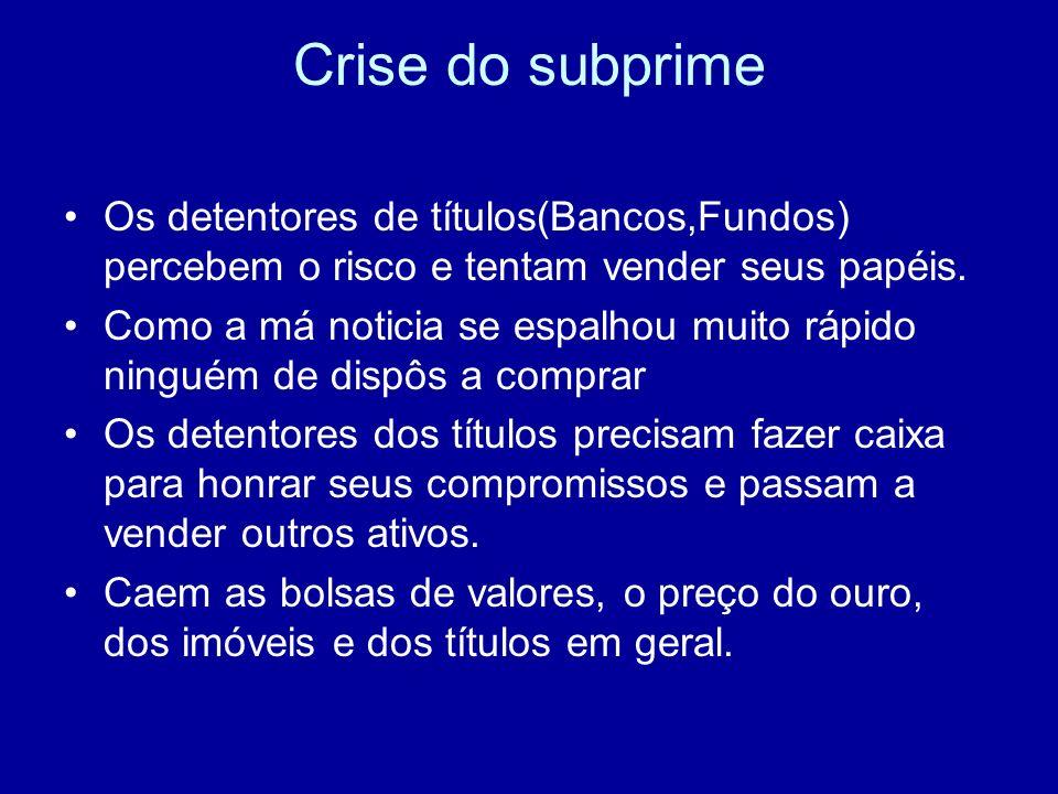 Crise do subprimeOs detentores de títulos(Bancos,Fundos) percebem o risco e tentam vender seus papéis.