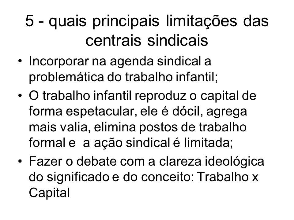 5 - quais principais limitações das centrais sindicais