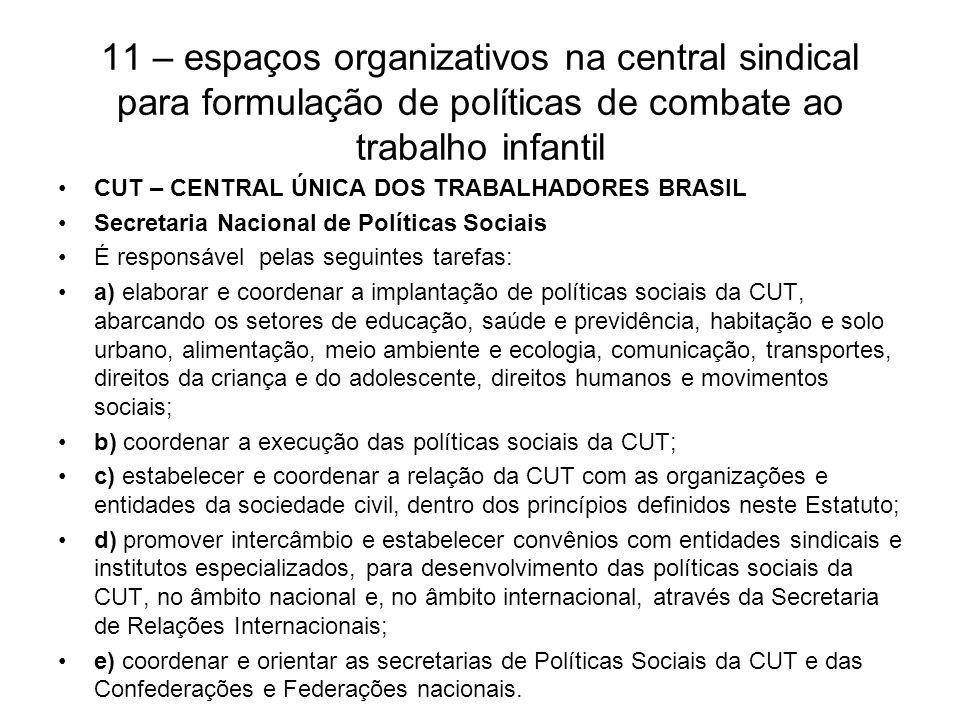 11 – espaços organizativos na central sindical para formulação de políticas de combate ao trabalho infantil