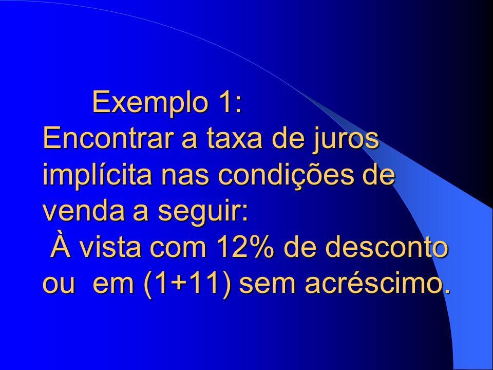 Exemplo 1: Encontrar a taxa de juros implícita nas condições de venda a seguir: À vista com 12% de desconto ou em (1+11) sem acréscimo.