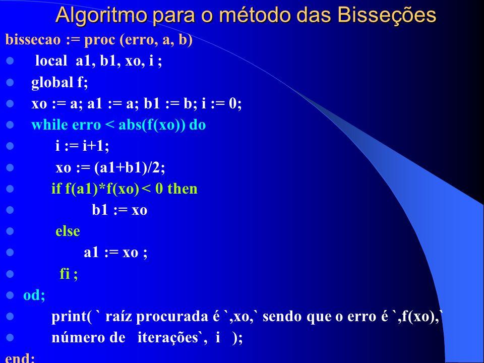 Algoritmo para o método das Bisseções