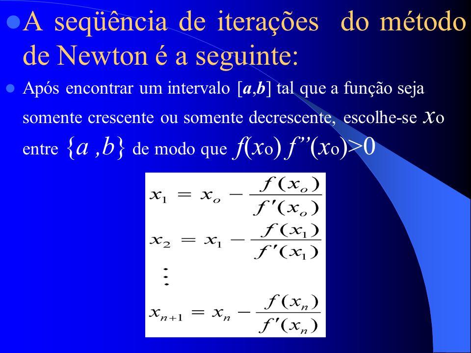A seqüência de iterações do método de Newton é a seguinte:
