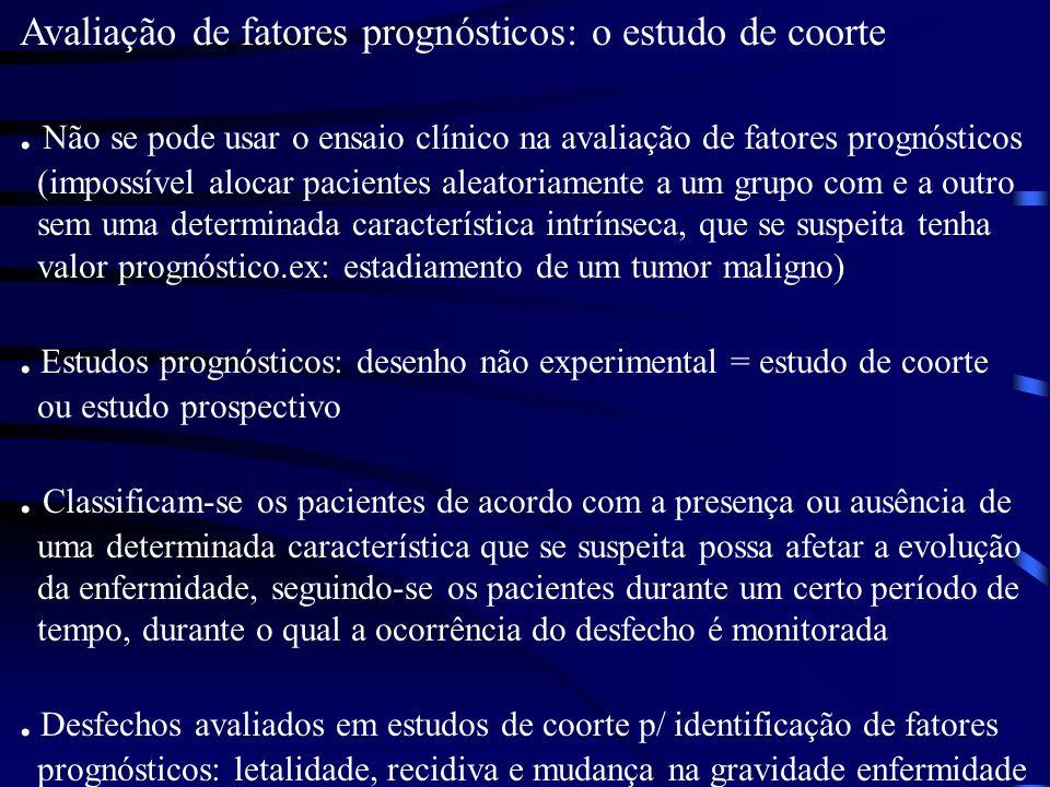 . Estudos prognósticos: desenho não experimental = estudo de coorte