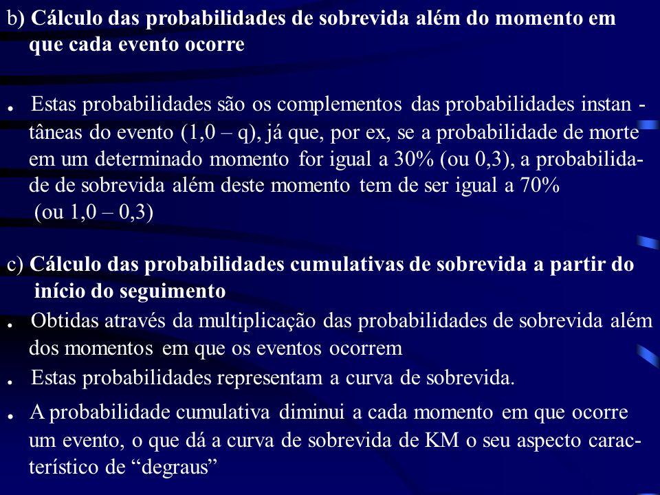 . Estas probabilidades são os complementos das probabilidades instan -
