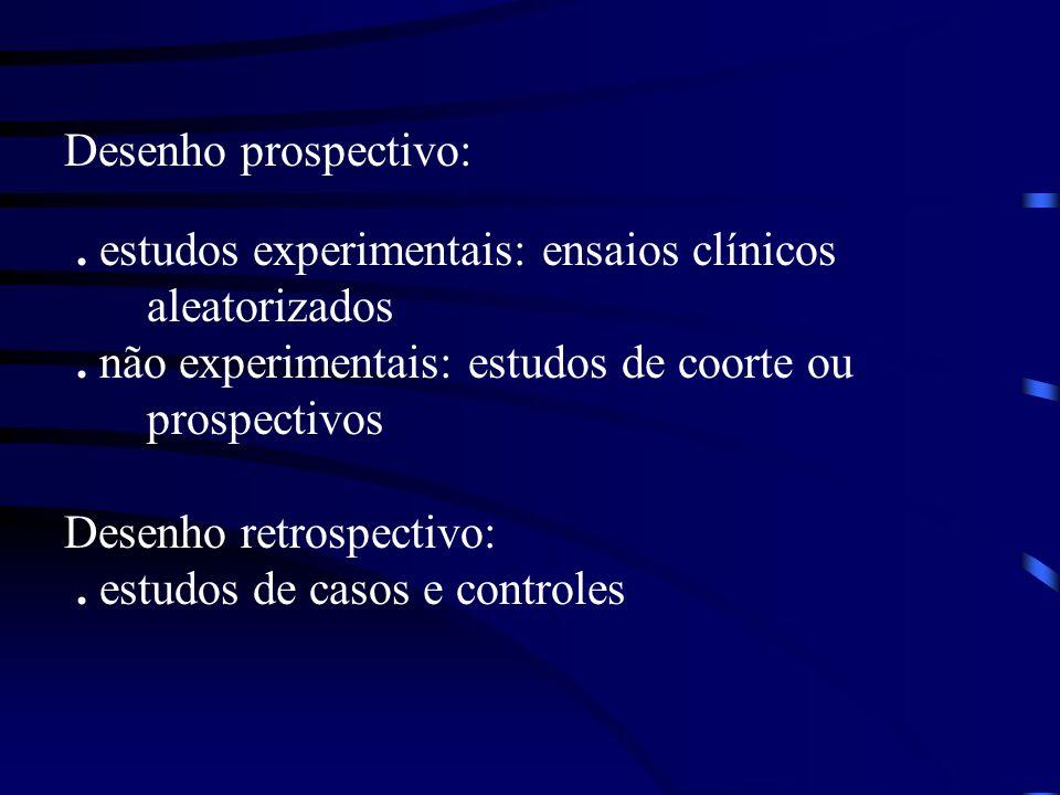 Desenho prospectivo: . estudos experimentais: ensaios clínicos. aleatorizados. . não experimentais: estudos de coorte ou.