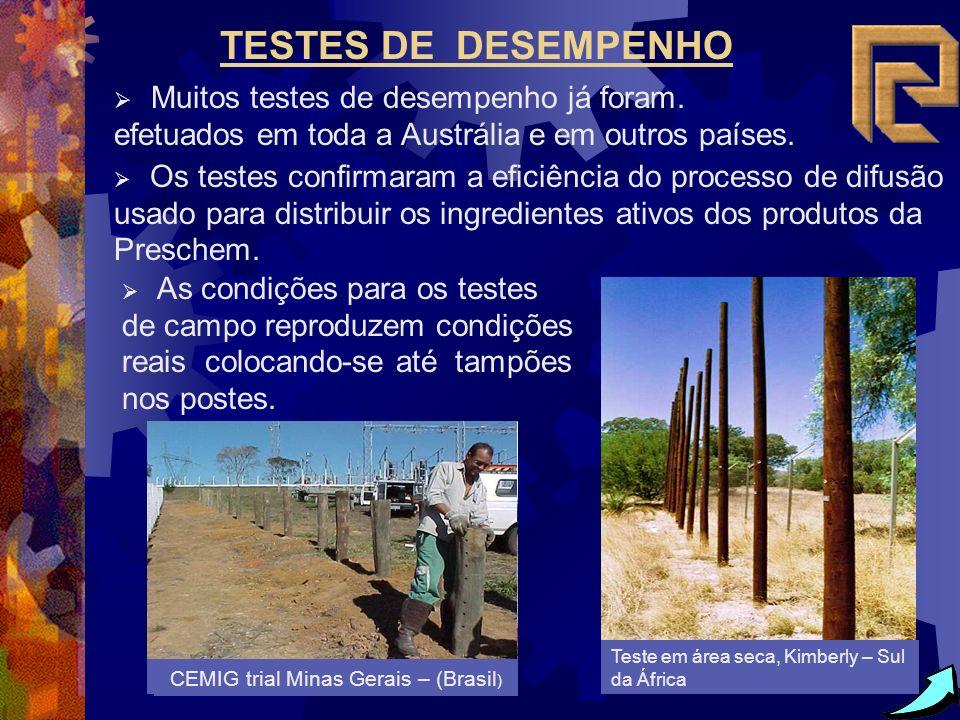 TESTES DE DESEMPENHO Muitos testes de desempenho já foram. efetuados em toda a Austrália e em outros países.