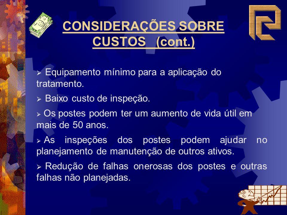 CONSIDERAÇÕES SOBRE CUSTOS (cont.)