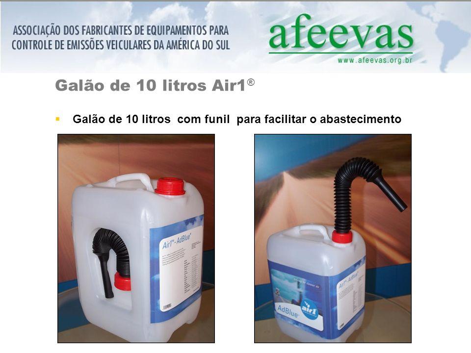 Galão de 10 litros Air1® Galão de 10 litros com funil para facilitar o abastecimento