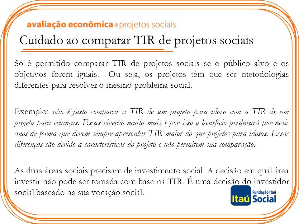 Cuidado ao comparar TIR de projetos sociais