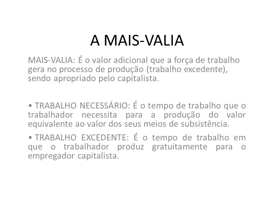 A MAIS-VALIA