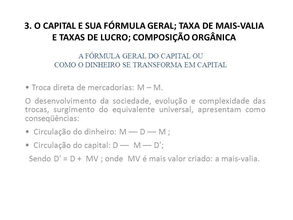 3. O CAPITAL E SUA FÓRMULA GERAL; TAXA DE MAIS-VALIA E TAXAS DE LUCRO; COMPOSIÇÃO ORGÂNICA