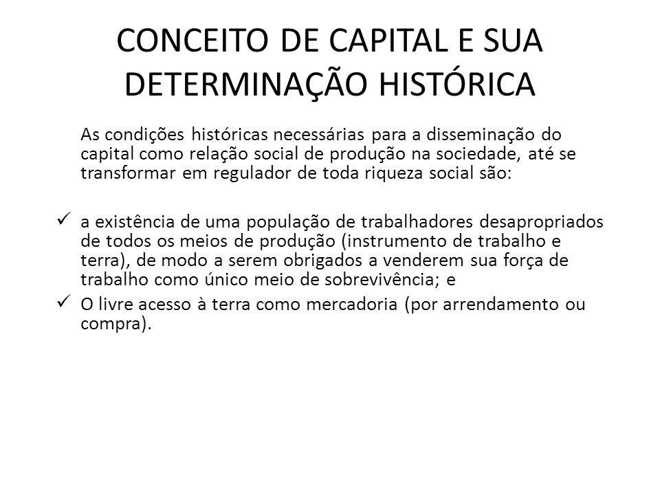 CONCEITO DE CAPITAL E SUA DETERMINAÇÃO HISTÓRICA