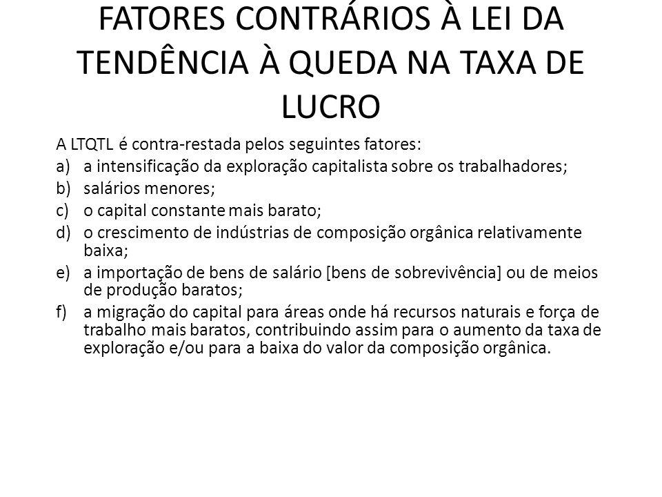FATORES CONTRÁRIOS À LEI DA TENDÊNCIA À QUEDA NA TAXA DE LUCRO