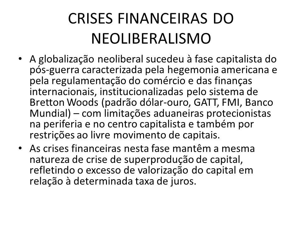 CRISES FINANCEIRAS DO NEOLIBERALISMO