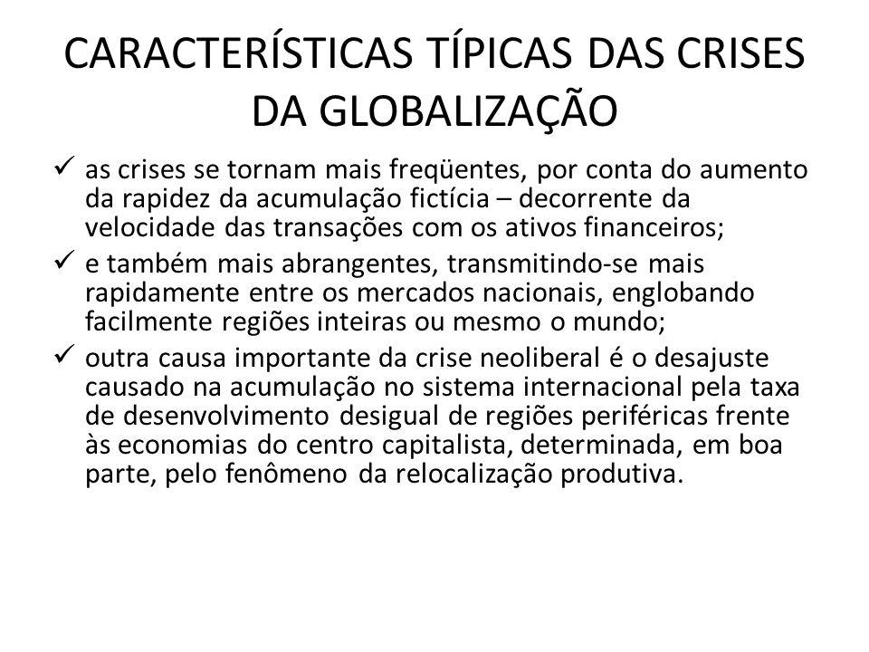CARACTERÍSTICAS TÍPICAS DAS CRISES DA GLOBALIZAÇÃO
