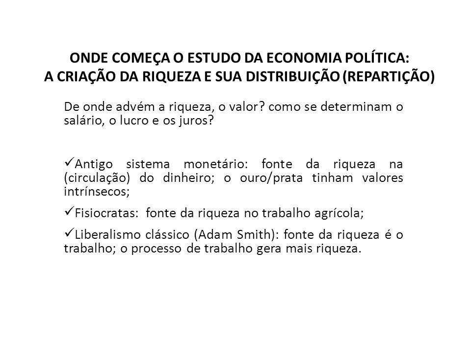 ONDE COMEÇA O ESTUDO DA ECONOMIA POLÍTICA: A CRIAÇÃO DA RIQUEZA E SUA DISTRIBUIÇÃO (REPARTIÇÃO)