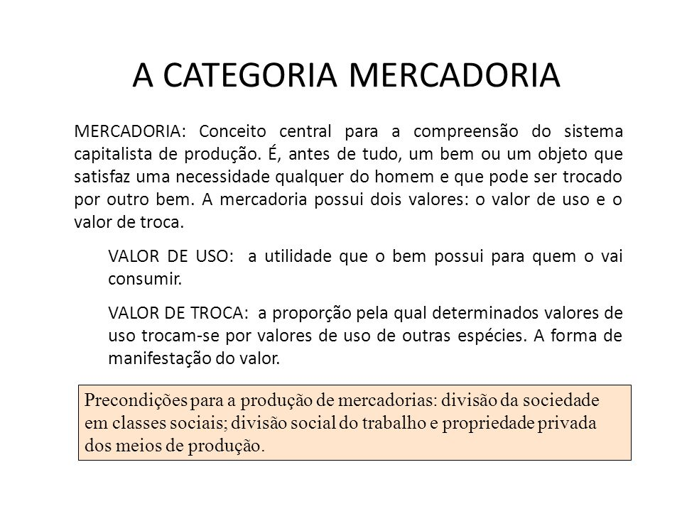 A CATEGORIA MERCADORIA