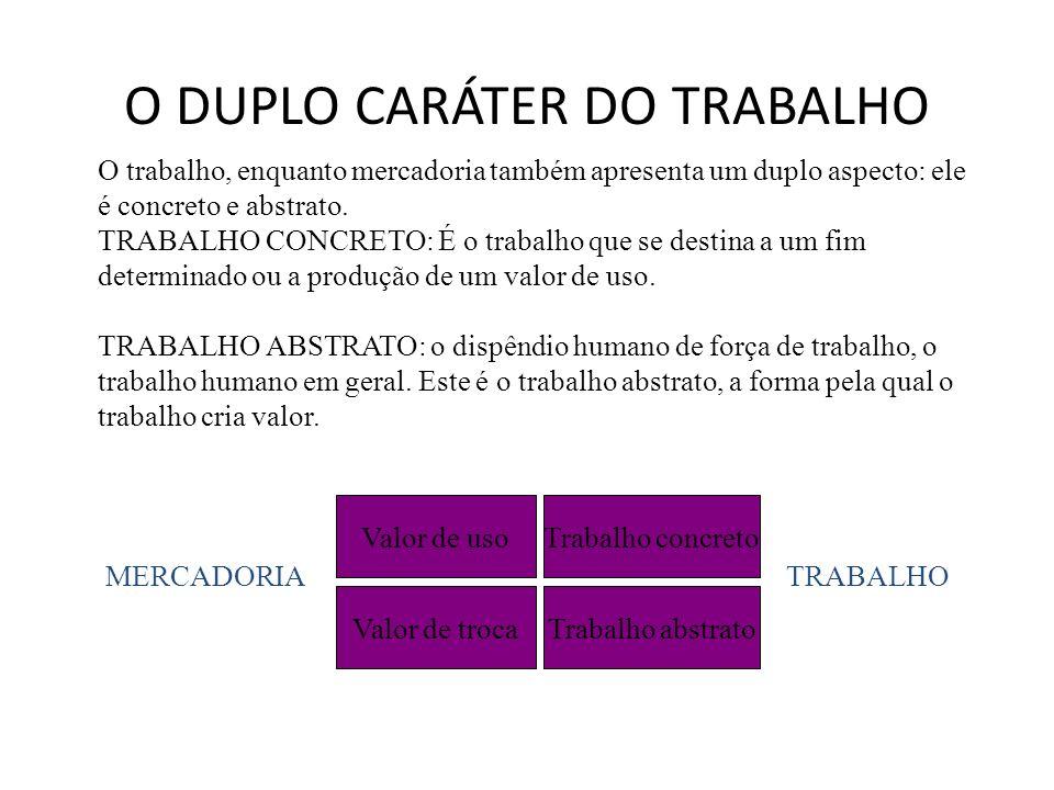 O DUPLO CARÁTER DO TRABALHO