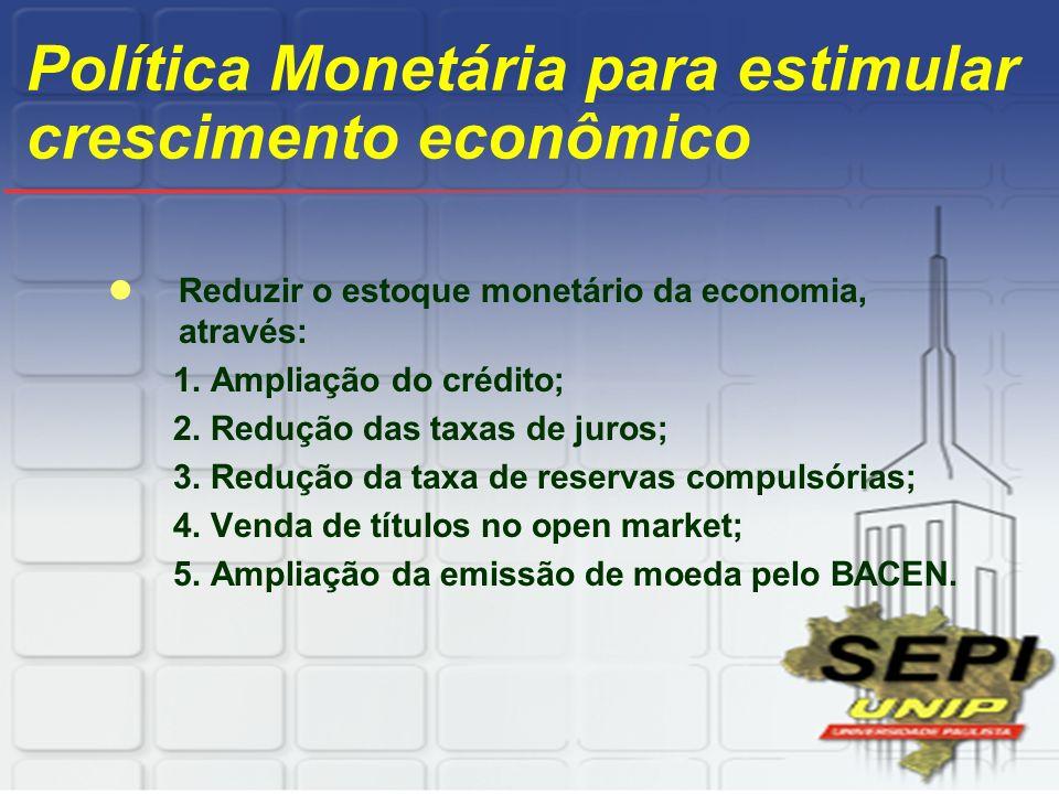Política Monetária para estimular crescimento econômico