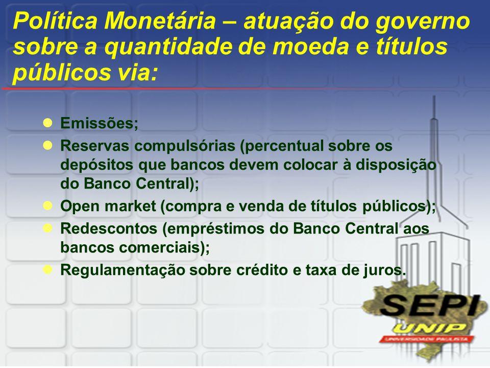 Política Monetária – atuação do governo sobre a quantidade de moeda e títulos públicos via: