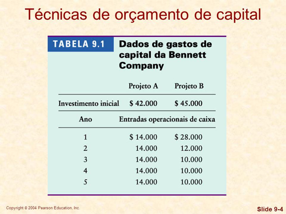 Técnicas de orçamento de capital