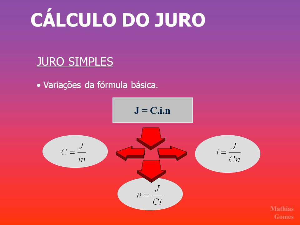 CÁLCULO DO JURO JURO SIMPLES • Variações da fórmula básica. J = C.i.n