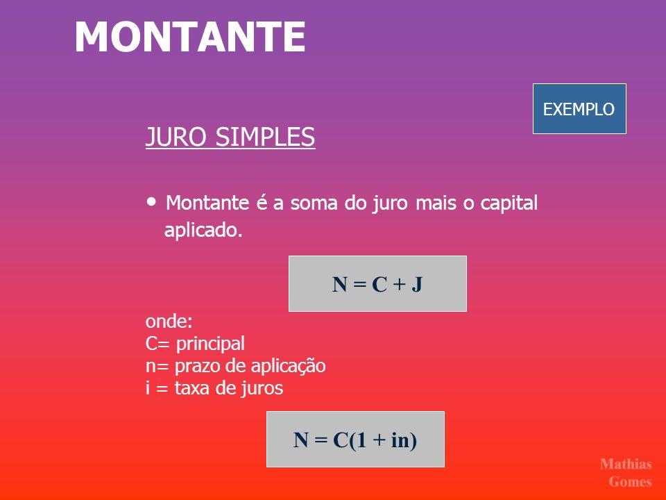 MONTANTE JURO SIMPLES • Montante é a soma do juro mais o capital