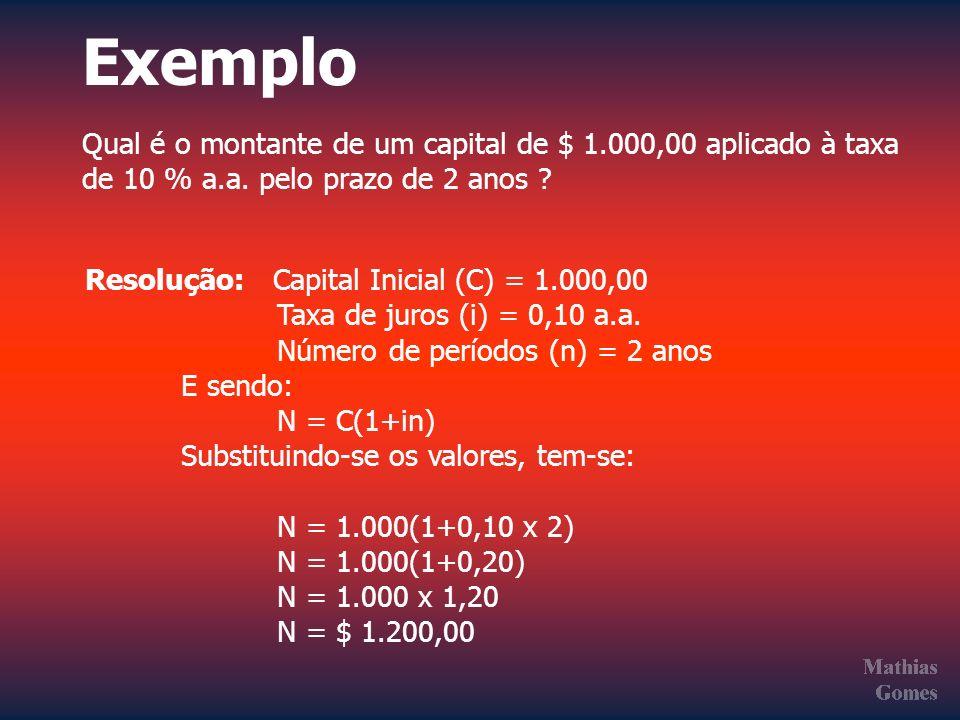 Exemplo Qual é o montante de um capital de $ 1.000,00 aplicado à taxa