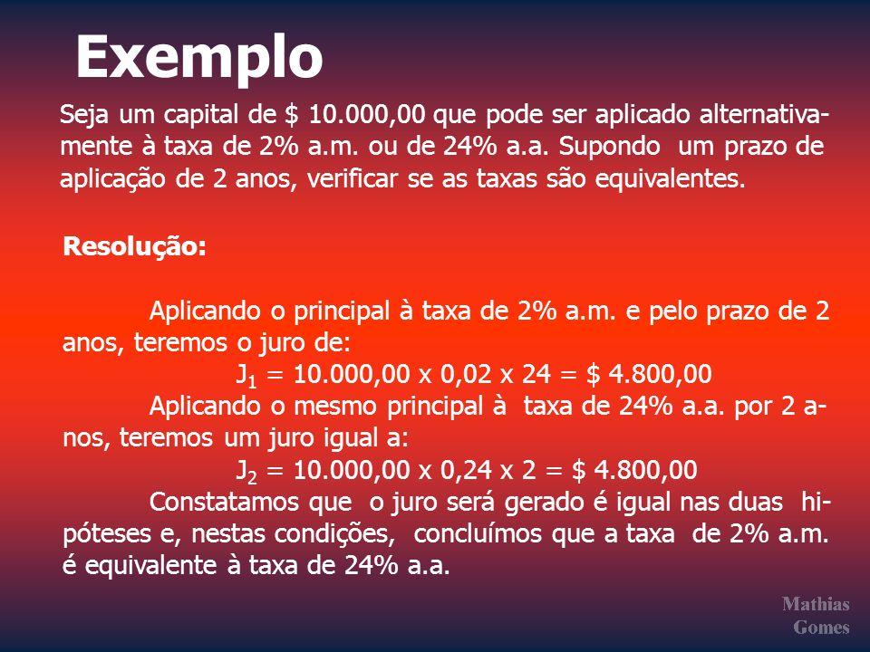 Exemplo Seja um capital de $ 10.000,00 que pode ser aplicado alternativa- mente à taxa de 2% a.m. ou de 24% a.a. Supondo um prazo de.
