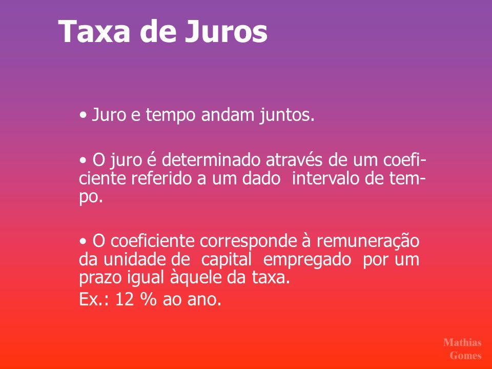 Taxa de Juros • Juro e tempo andam juntos.