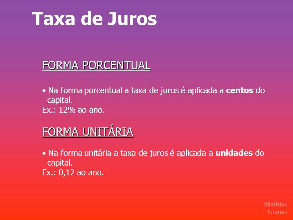 Taxa de Juros FORMA PORCENTUAL FORMA UNITÁRIA