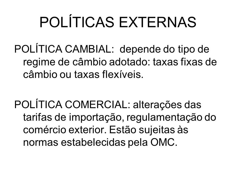 POLÍTICAS EXTERNAS POLÍTICA CAMBIAL: depende do tipo de regime de câmbio adotado: taxas fixas de câmbio ou taxas flexíveis.
